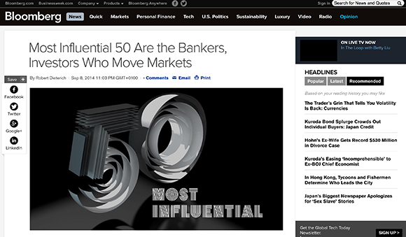 CREATIVE DISRUPTION: LEONARDOWORX ILLUSTRATES BLOOMBERG'S 50 MOST INFLUENTIAL