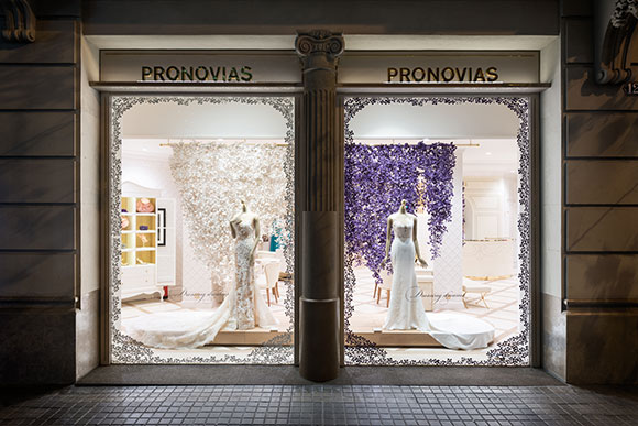 Wedding flowers: Wanda Barcelona's mesmeric window scenes for Pronovias