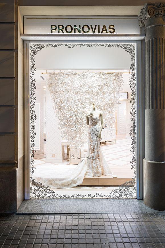 Wedding flowers: Wanda Barcelona's mesmeric window scenes for Pronovias