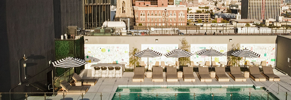 Capturing the LA Downtown Scene: Jonathan Calugi's mural at The Crosby's rooftop