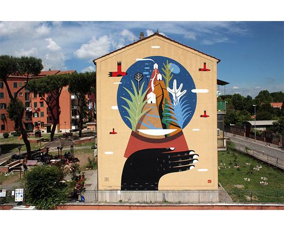 Agostino Iacurci Globe Rome Mural