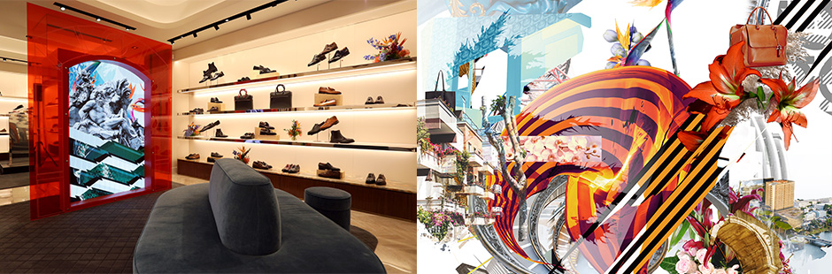 Machas collaborates with Salvatore Ferragamo and artist James Dawe for the re-opening of the historic flagship store in Rome.