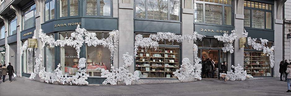 The stunning new paper installation re-imagines Zara Home's new Swiss store immersed in a fabulous sea landscape...