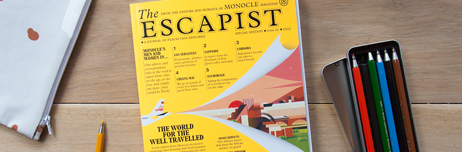 Ray Oranges created The Escapist's cover, Monocle's travel focused publication