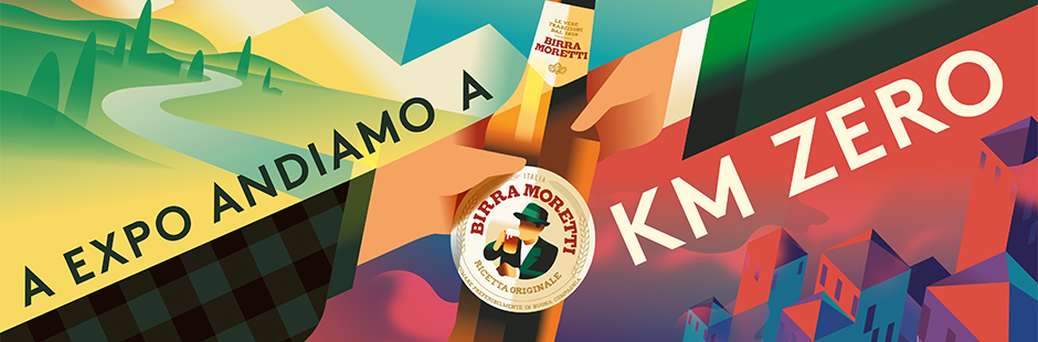 Machas commissioned Machas' Artist Network Mads Berg to bring Birra Moretti's Universal Exibition campaign to life.