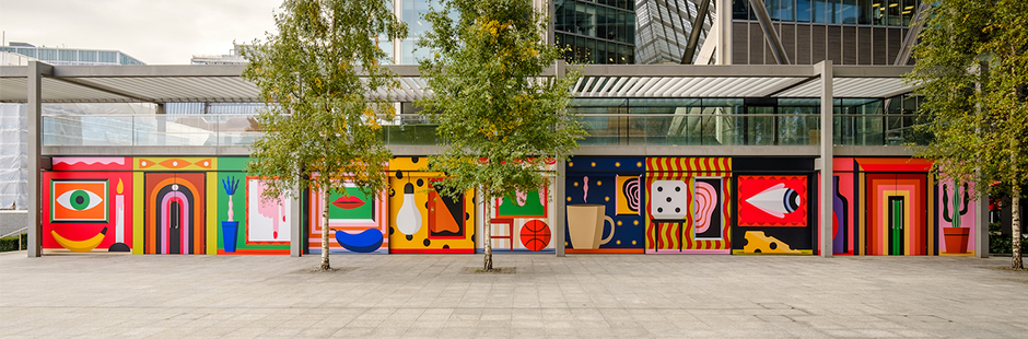 Agostino Iacurci creates a stunning 30-meters-long art piece for Brookfield Properties at Principal Place, Shoreditch.