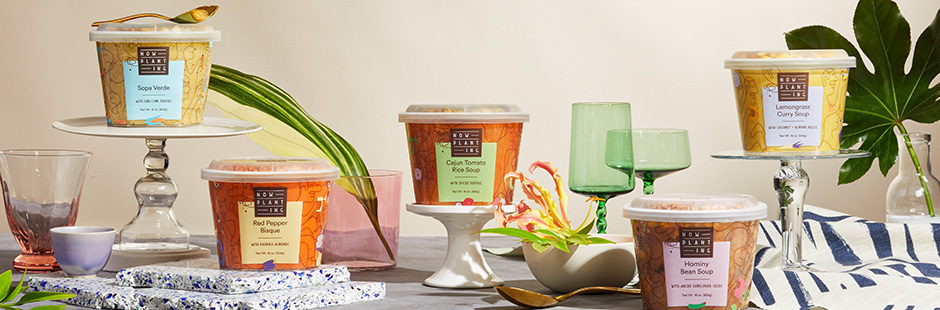 Jonathan Calugi collaborates on the launch of new plant-based food brand Now Planting on a series of lovely illustrated packagin