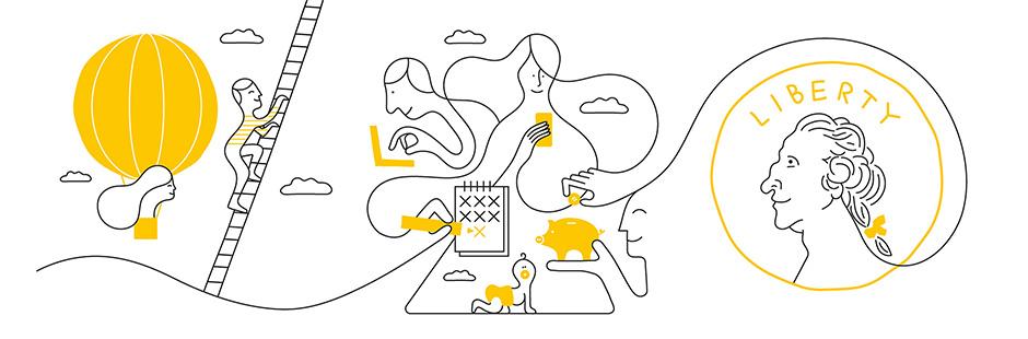 Jonathan Calugi imagined a series of illustrations for Twine, John Hancock's family finance management app